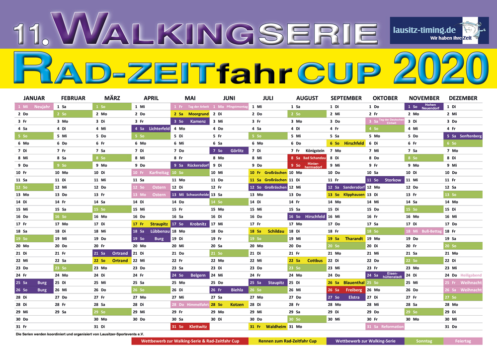 Jahreskalender zur 11. WALKING-SERIE und RAD-ZEITfahr CUP 2020